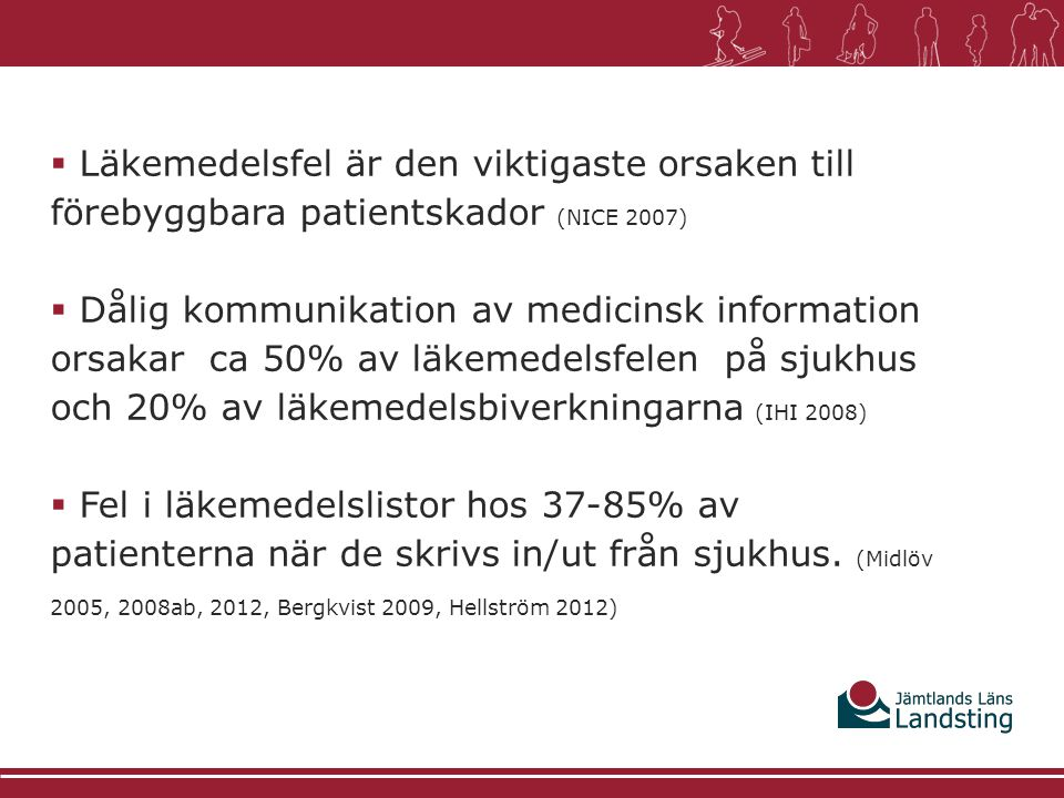 Läkemedelsfel är den viktigaste orsaken till förebyggbara patientskador (NICE 2007)