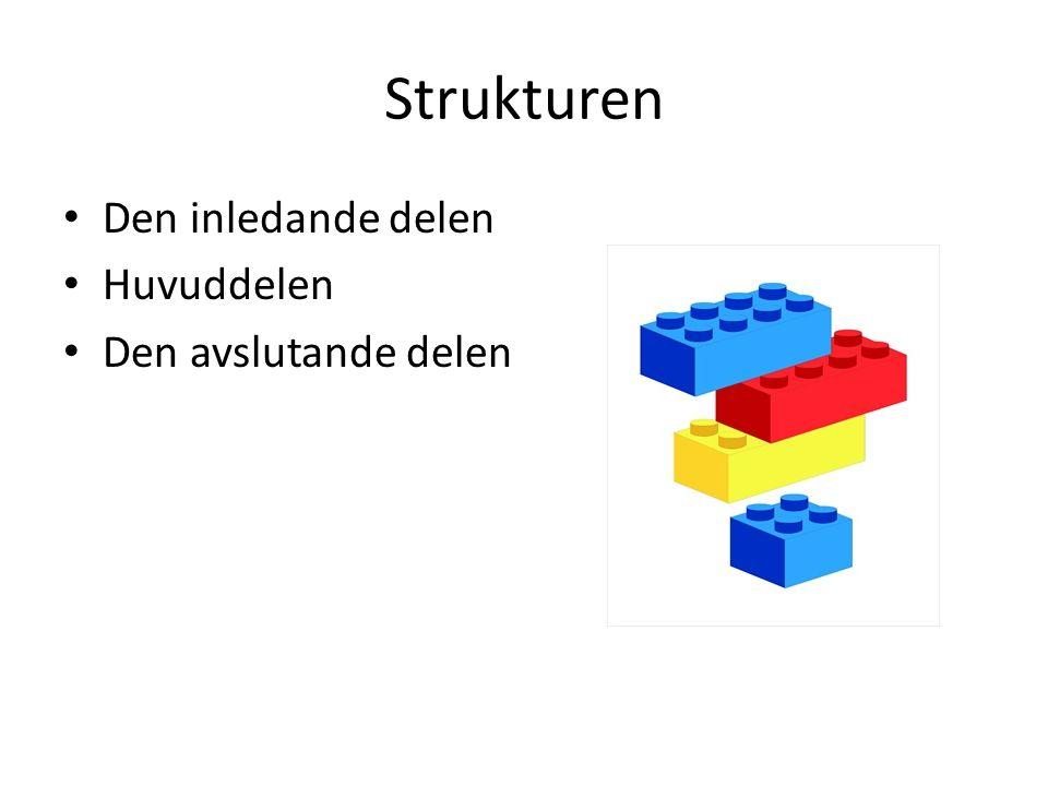 Strukturen Den inledande delen Huvuddelen Den avslutande delen