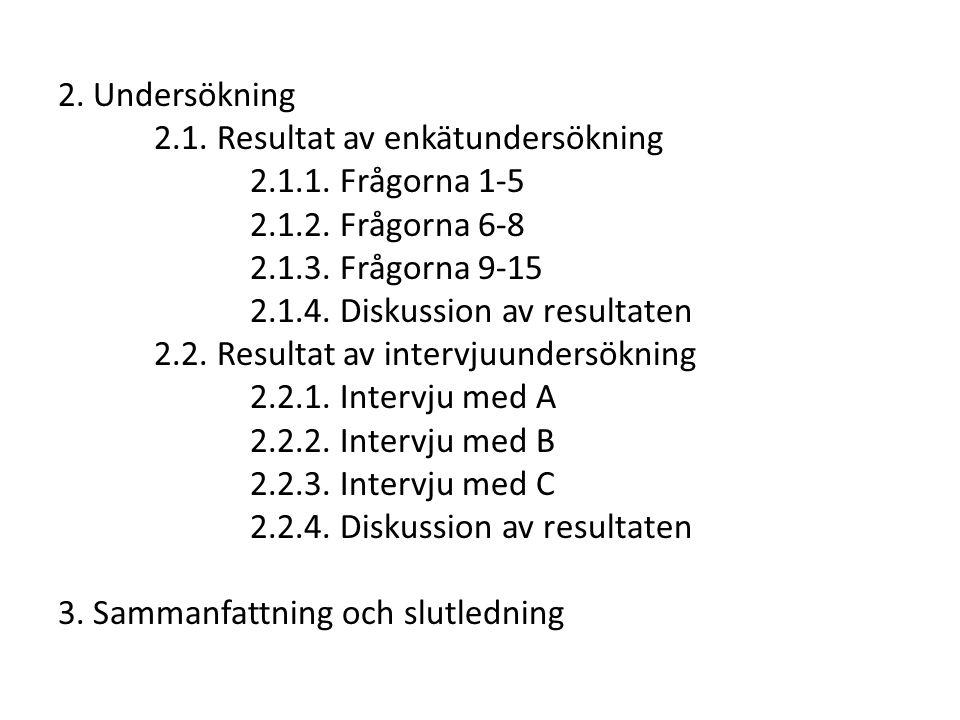 2. Undersökning 2.1. Resultat av enkätundersökning. 2.1.1. Frågorna 1-5. 2.1.2. Frågorna 6-8. 2.1.3. Frågorna 9-15.