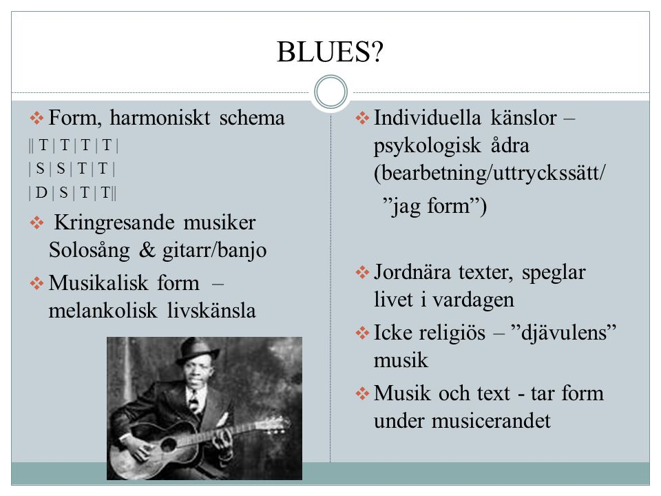 BLUES Form, harmoniskt schema