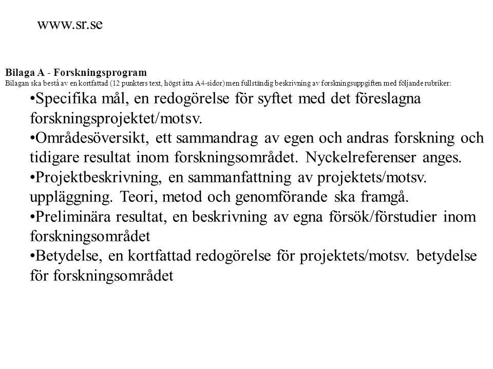 www.sr.se Bilaga A - Forskningsprogram.