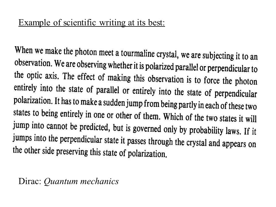 Example of scientific writing at its best:
