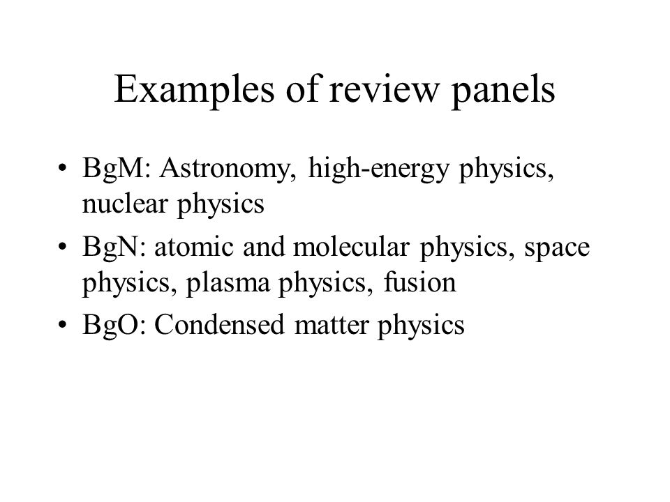 Examples of review panels