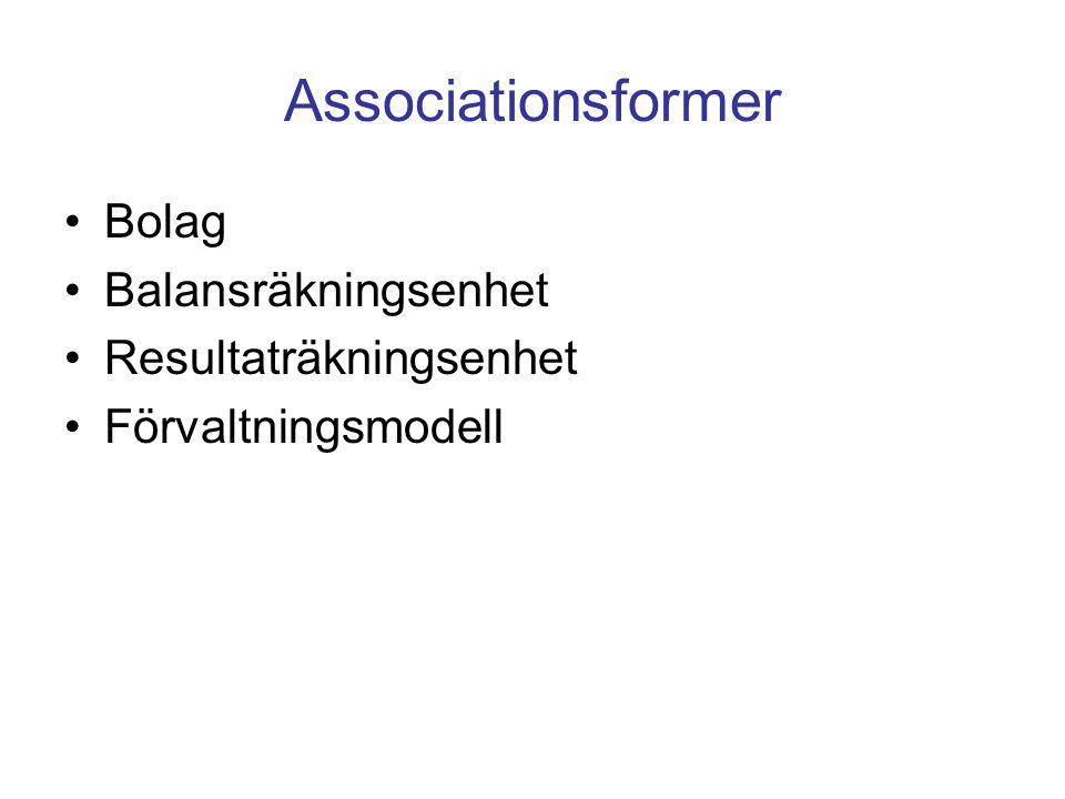 Associationsformer Bolag Balansräkningsenhet Resultaträkningsenhet