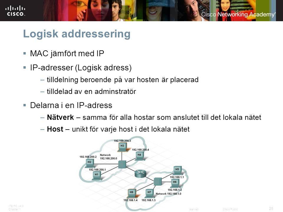 Logisk addressering MAC jämfört med IP IP-adresser (Logisk adress)