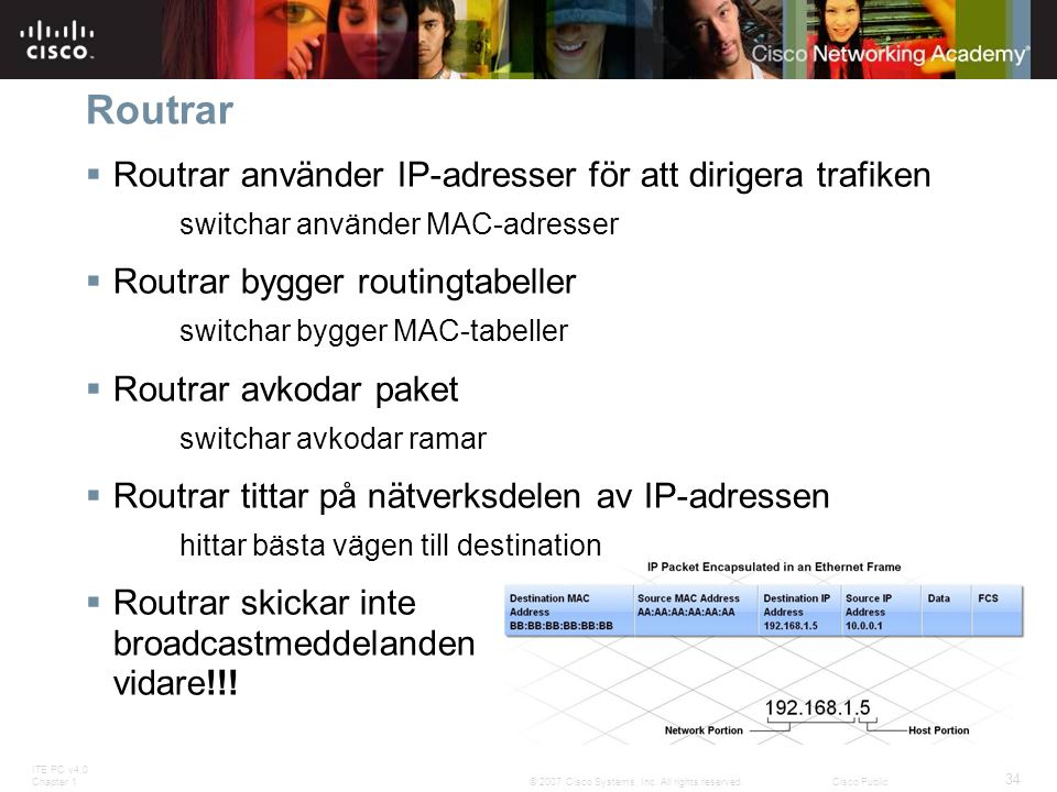 Routrar Routrar använder IP-adresser för att dirigera trafiken