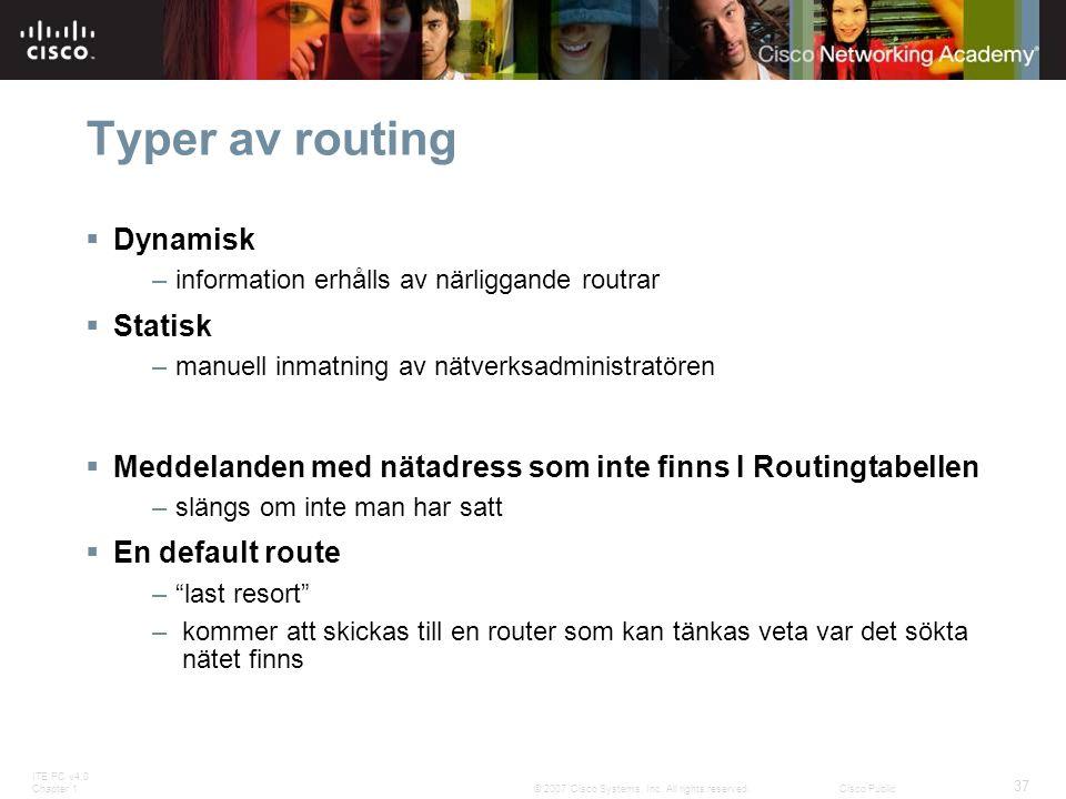 Typer av routing Dynamisk Statisk