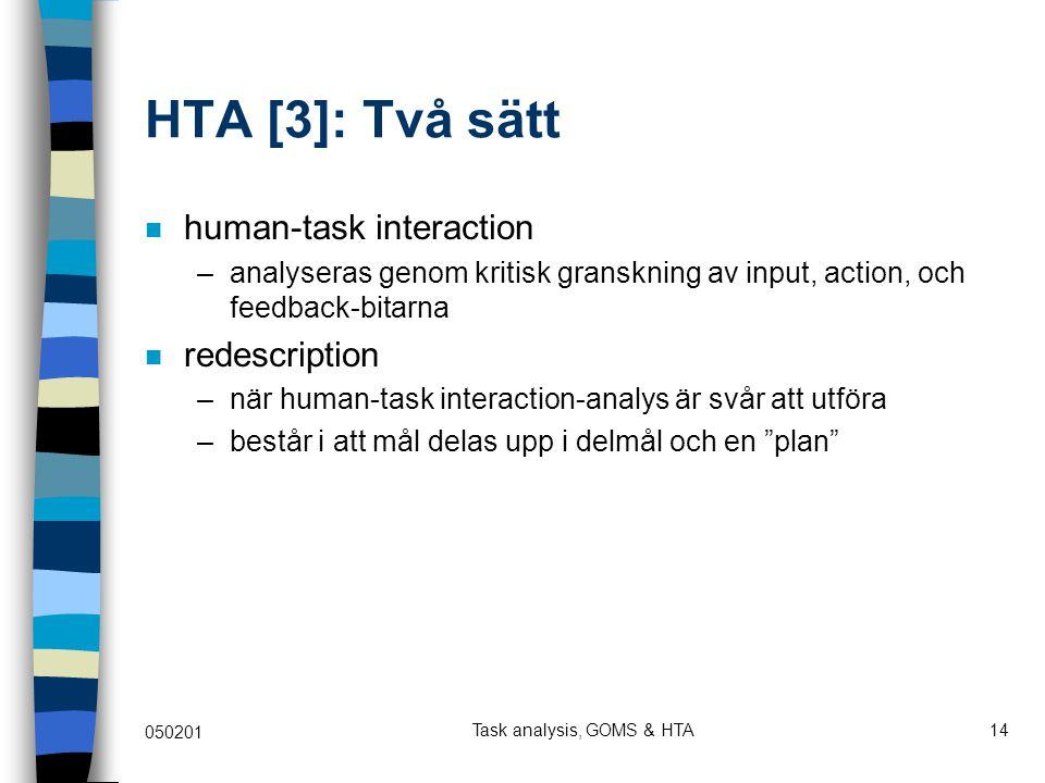 Task analysis, GOMS & HTA