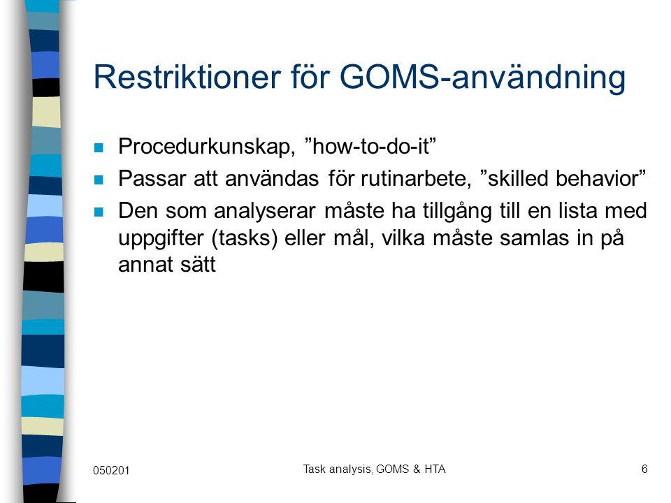 Restriktioner för GOMS-användning