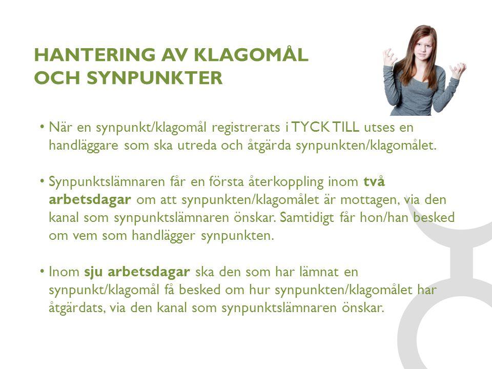 HANTERING AV KLAGOMÅL OCH SYNPUNKTER