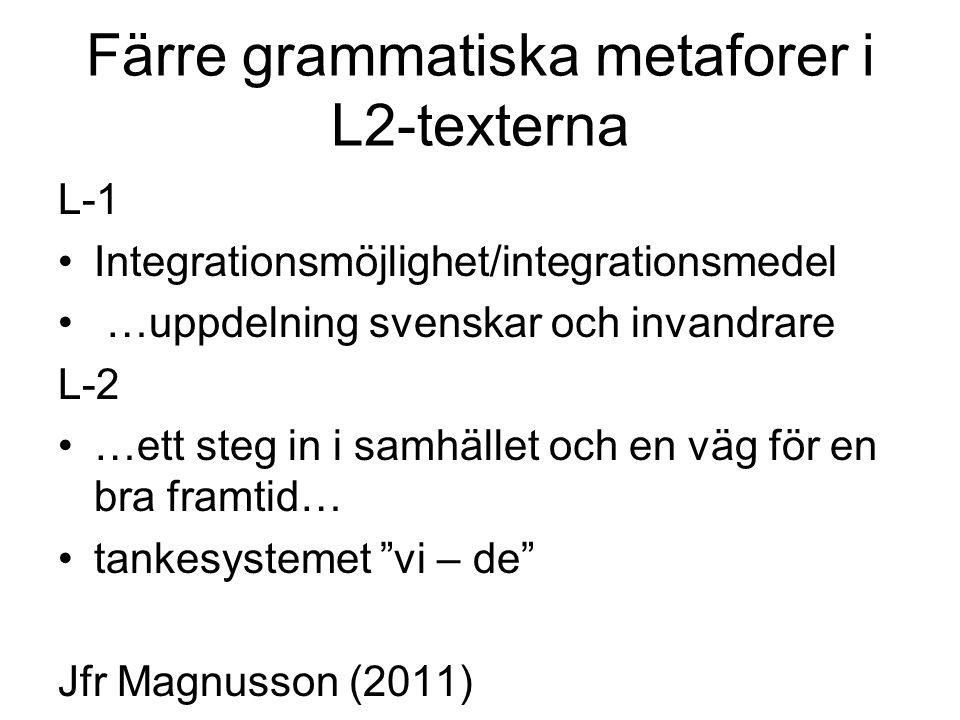 Färre grammatiska metaforer i L2-texterna