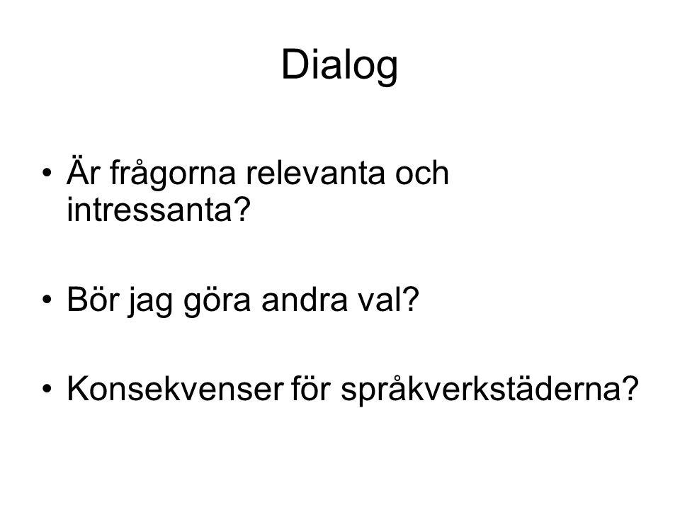 Dialog Är frågorna relevanta och intressanta Bör jag göra andra val