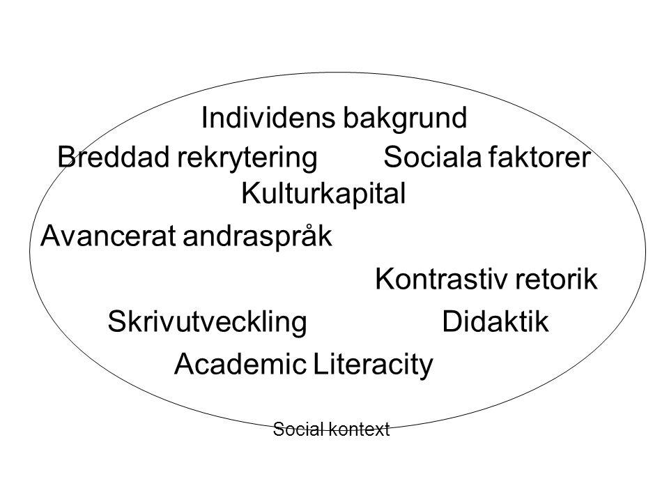 Breddad rekrytering Sociala faktorer Kulturkapital