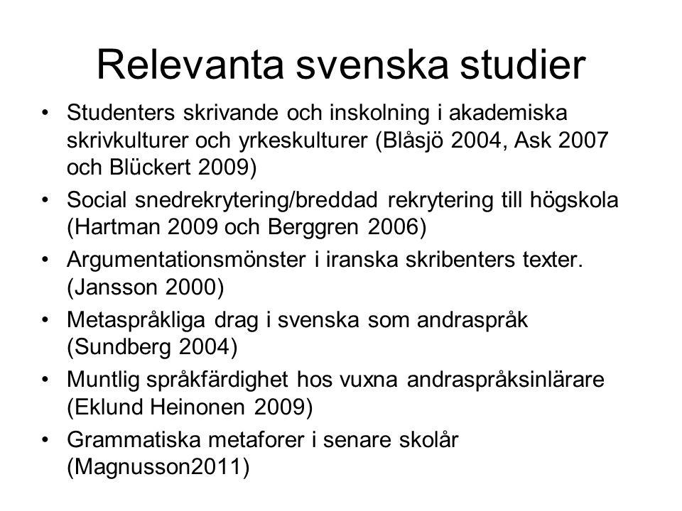 Relevanta svenska studier