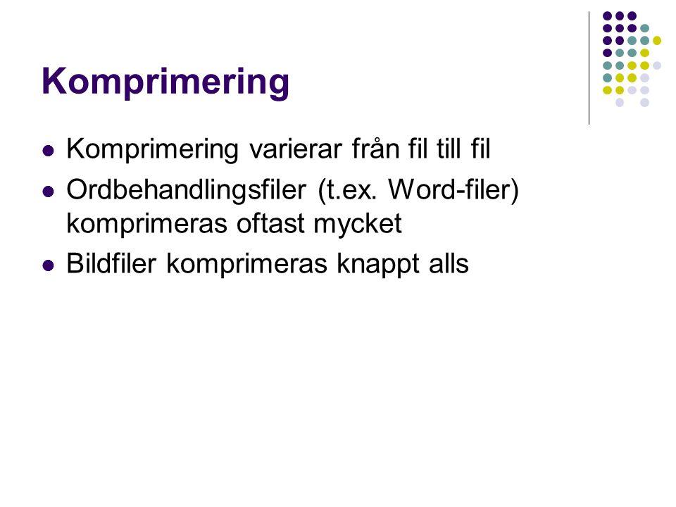 Komprimering Komprimering varierar från fil till fil