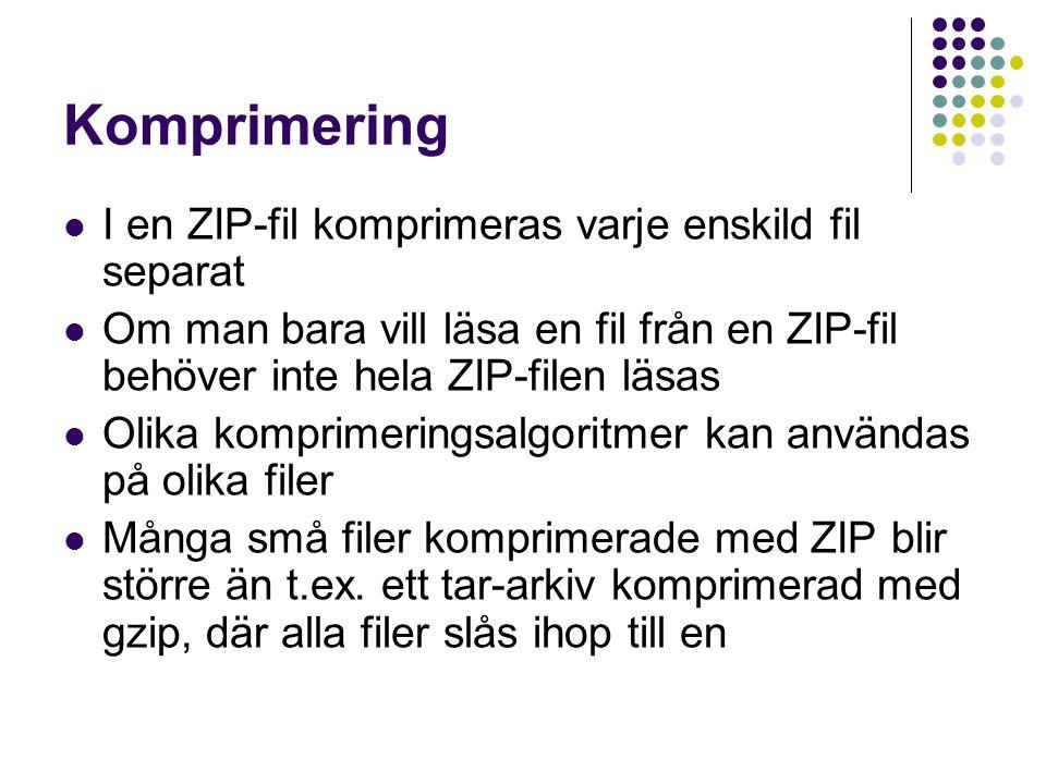 Komprimering I en ZIP-fil komprimeras varje enskild fil separat