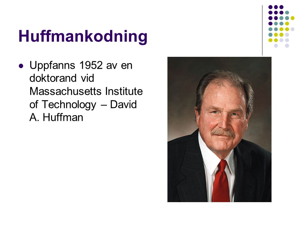 Huffmankodning Uppfanns 1952 av en doktorand vid Massachusetts Institute of Technology – David A.