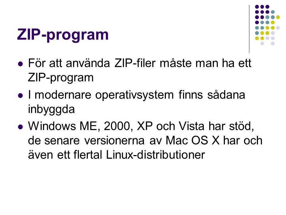 ZIP-program För att använda ZIP-filer måste man ha ett ZIP-program