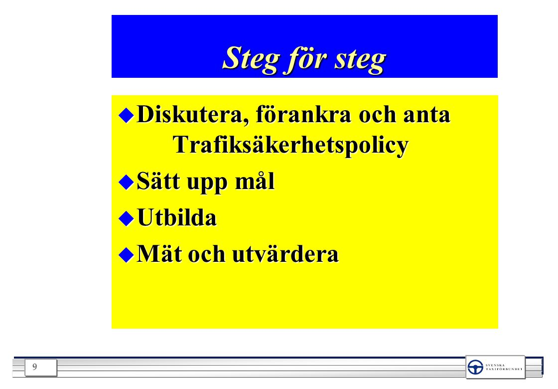 Steg för steg Diskutera, förankra och anta Trafiksäkerhetspolicy