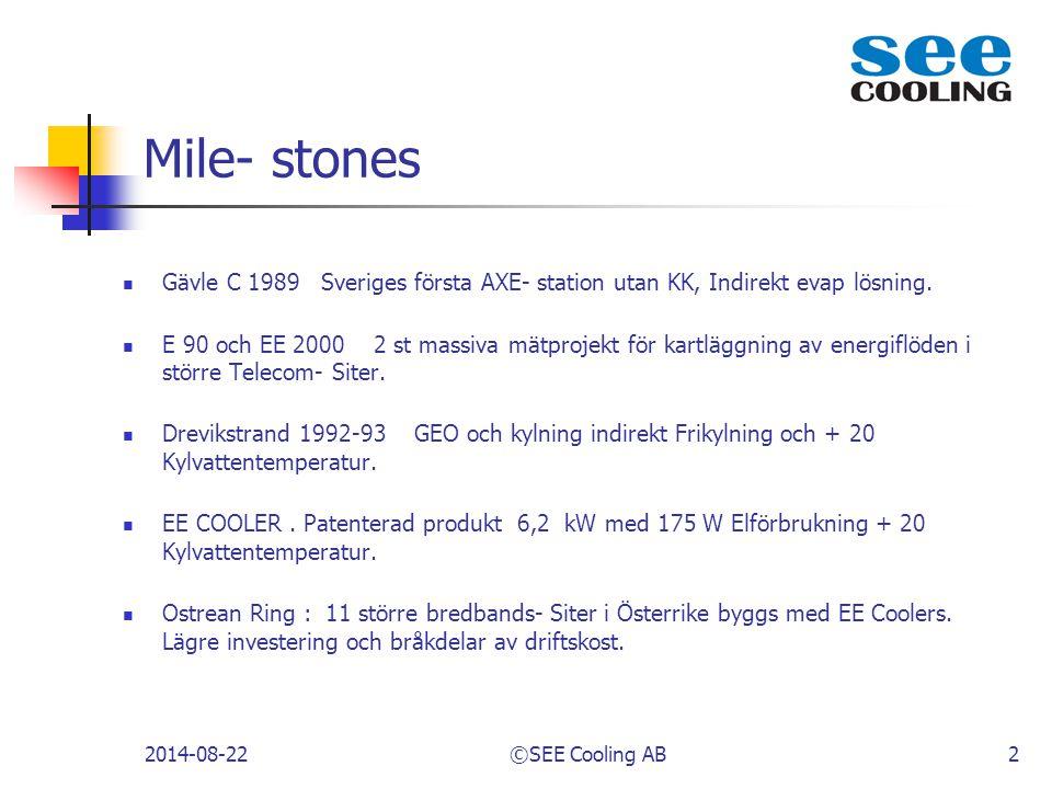 Mile- stones Gävle C 1989 Sveriges första AXE- station utan KK, Indirekt evap lösning.