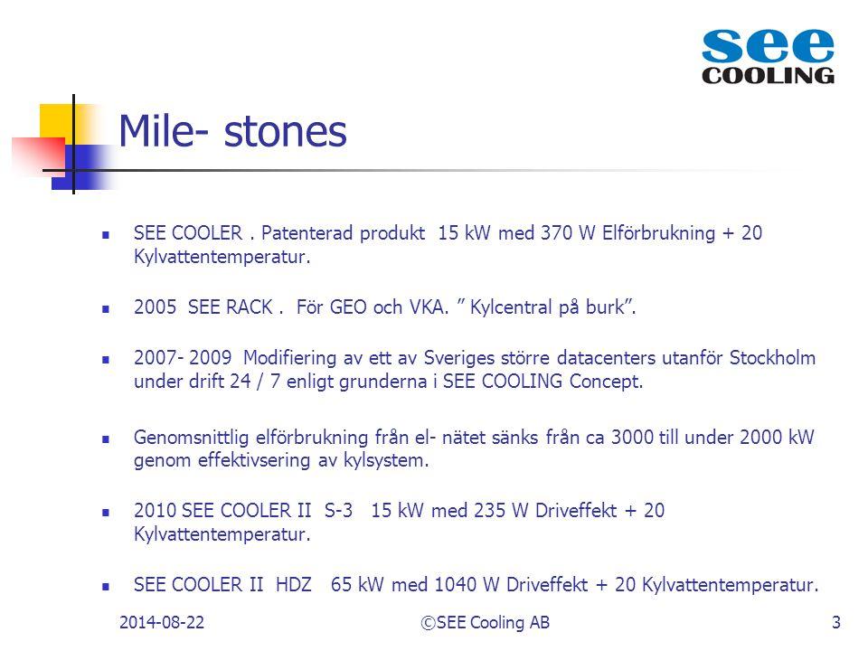 Mile- stones SEE COOLER . Patenterad produkt 15 kW med 370 W Elförbrukning + 20 Kylvattentemperatur.