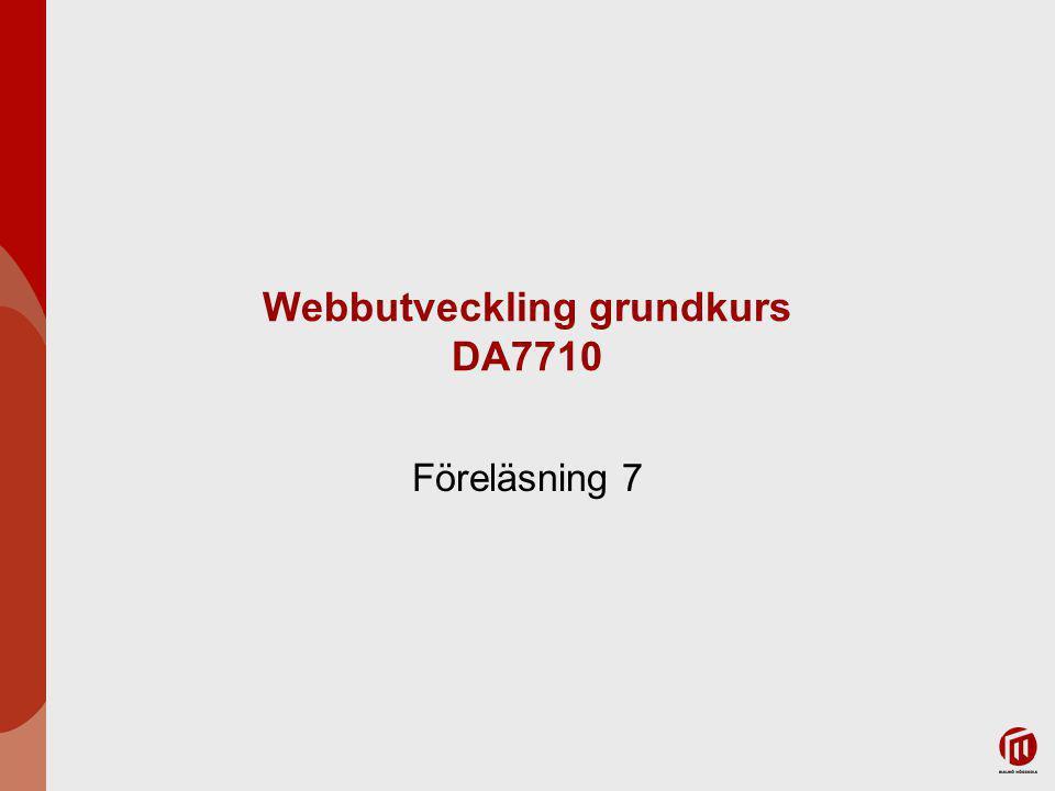 Webbutveckling grundkurs DA7710