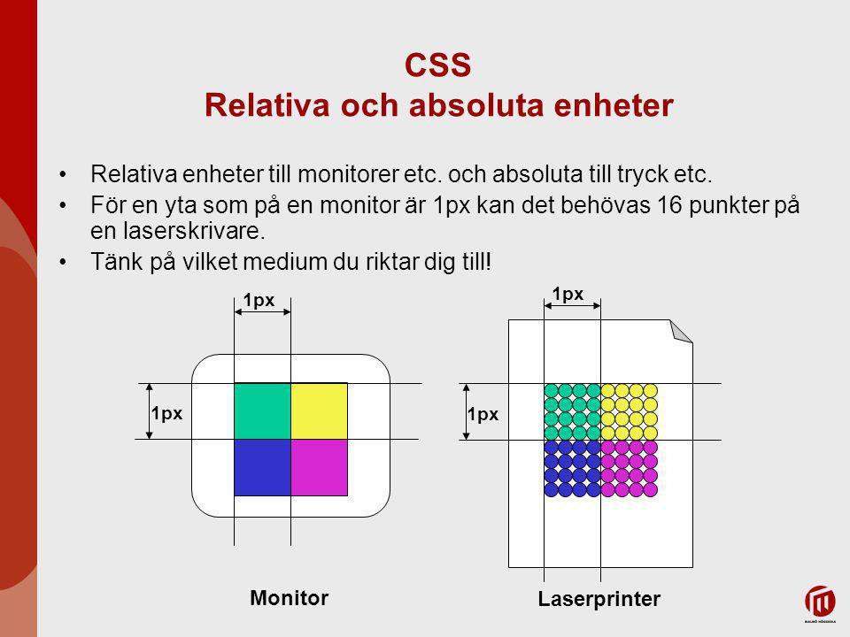 CSS Relativa och absoluta enheter