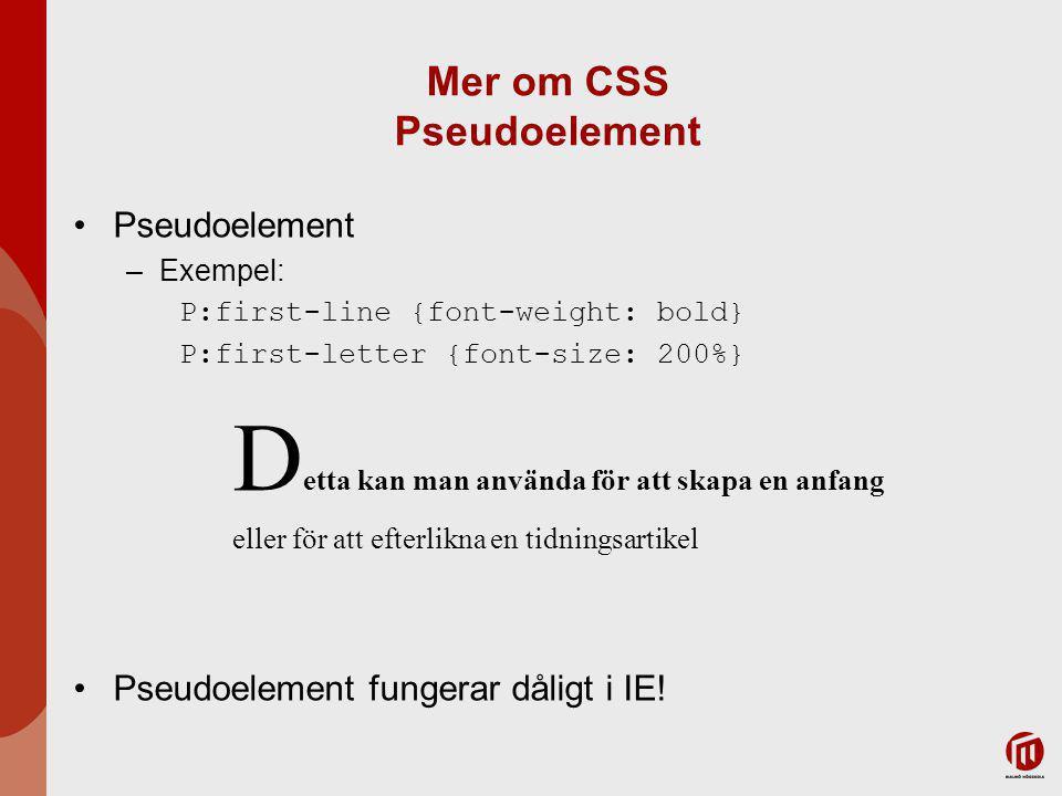 Mer om CSS Pseudoelement