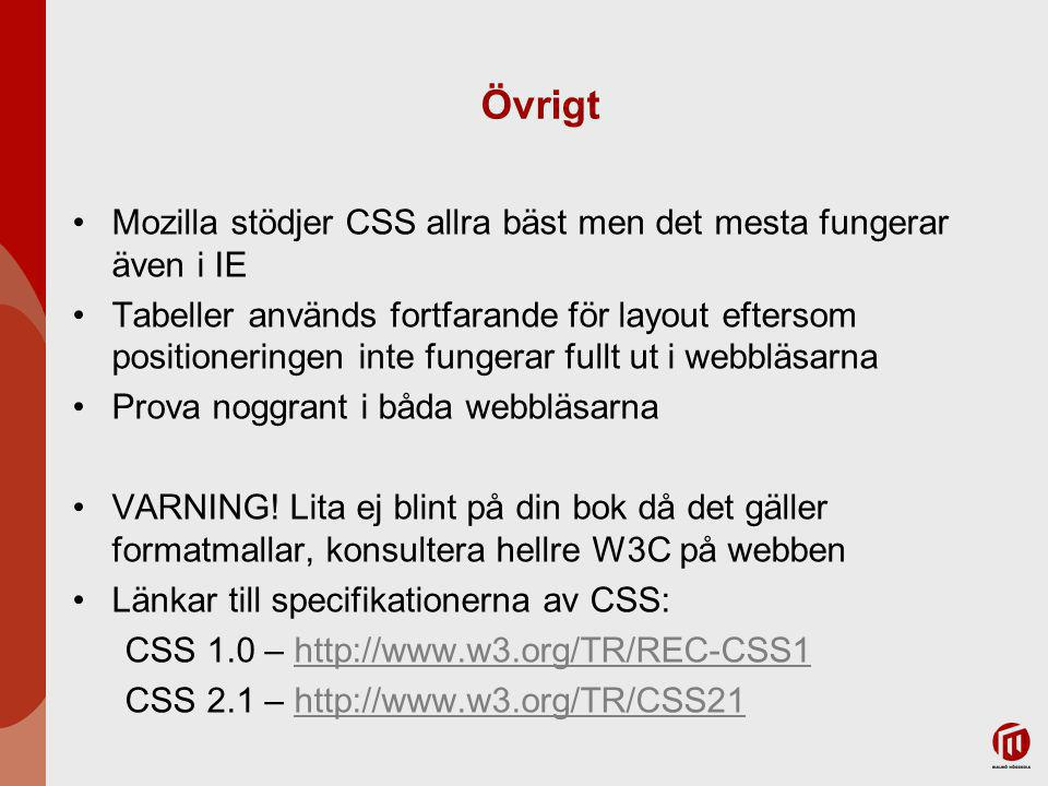 Övrigt Mozilla stödjer CSS allra bäst men det mesta fungerar även i IE