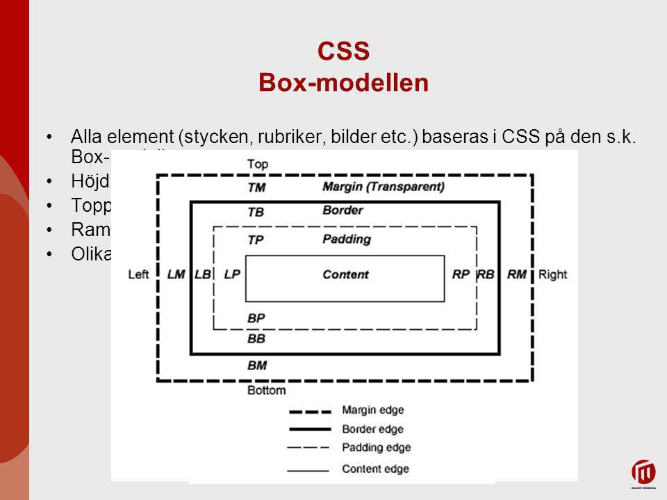 2017-04-06 CSS Box-modellen. Alla element (stycken, rubriker, bilder etc.) baseras i CSS på den s.k. Box-modellen.