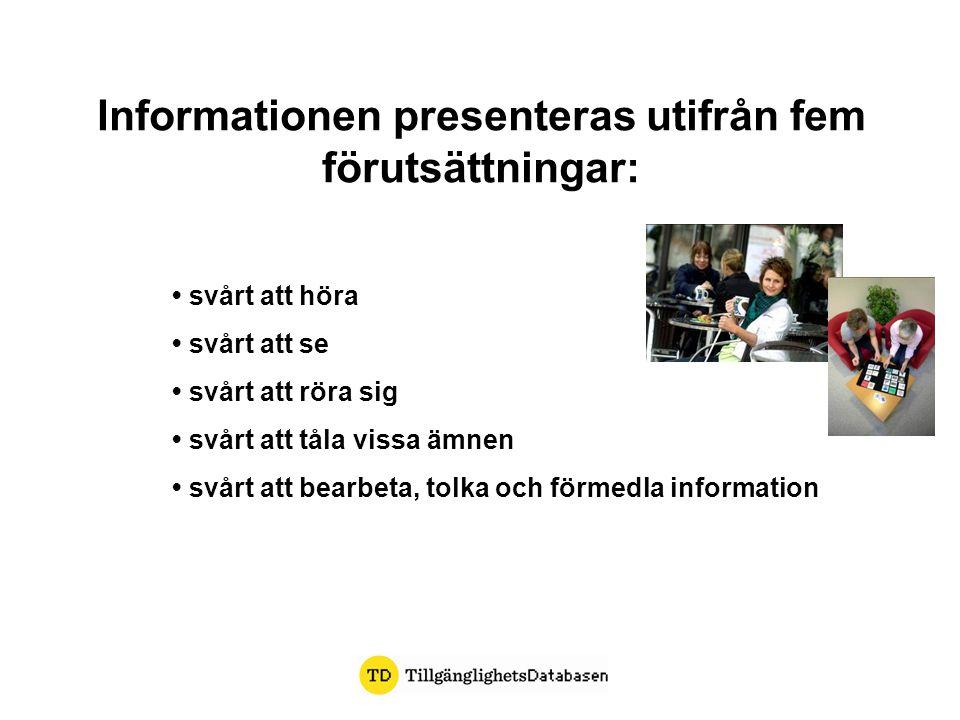 Informationen presenteras utifrån fem förutsättningar: