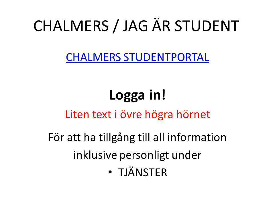 CHALMERS / JAG ÄR STUDENT