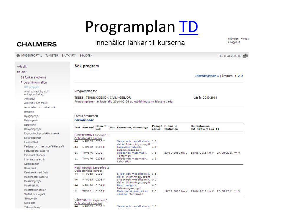 Programplan TD innehåller länkar till kurserna