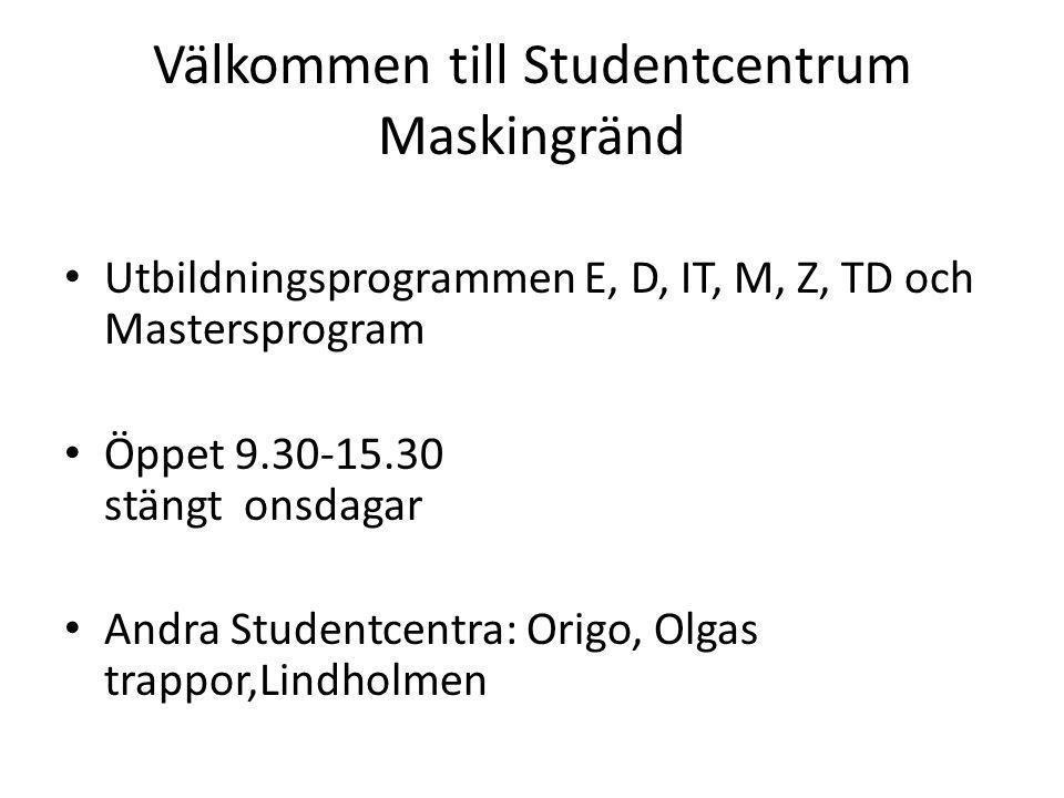 Välkommen till Studentcentrum Maskingränd