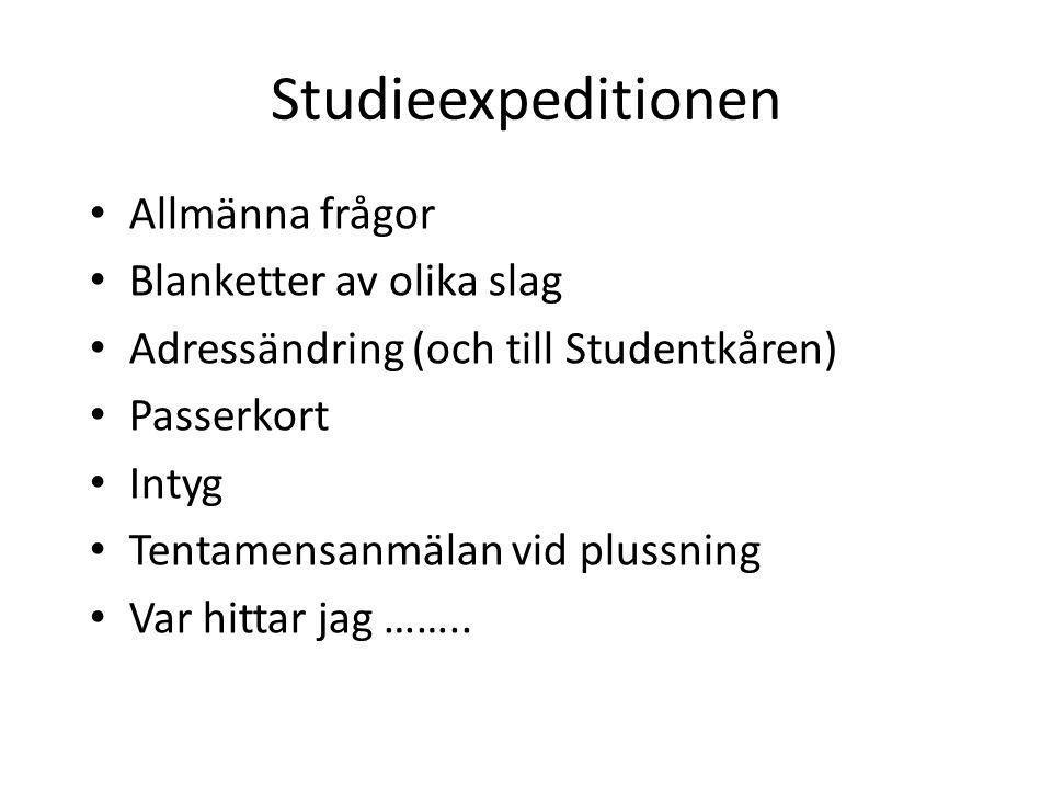 Studieexpeditionen Allmänna frågor Blanketter av olika slag