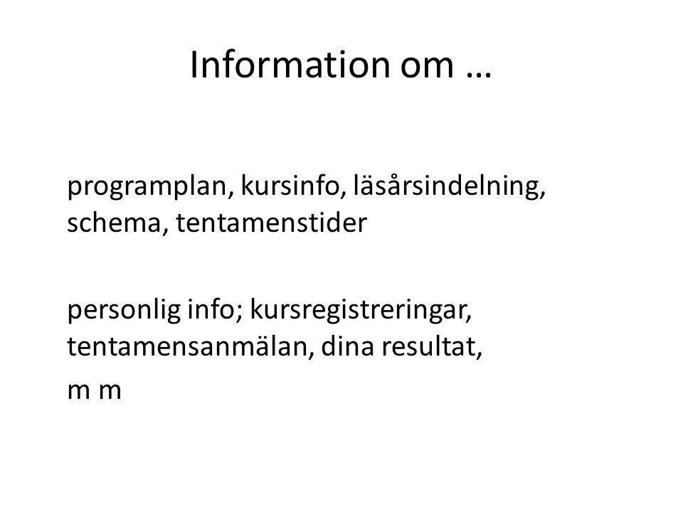 Information om …