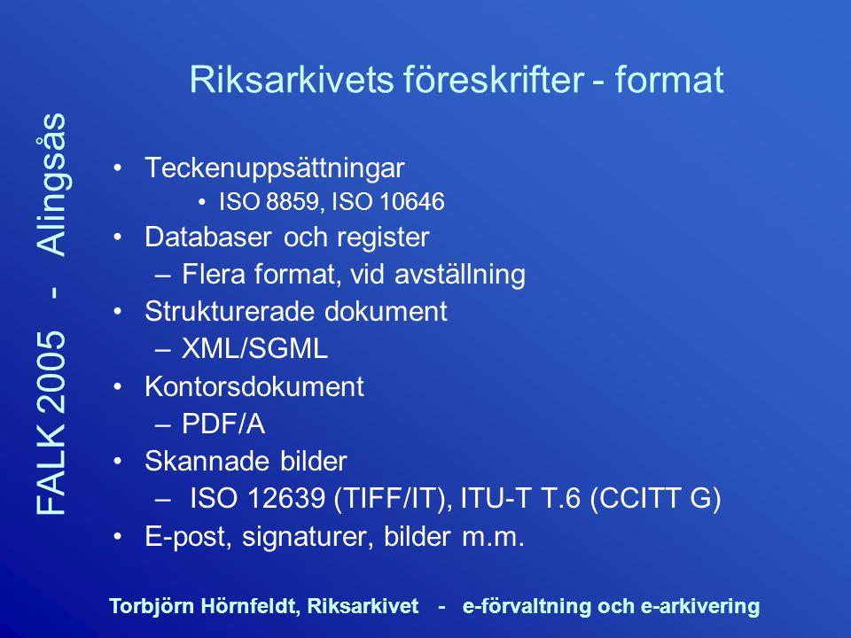 Riksarkivets föreskrifter - format