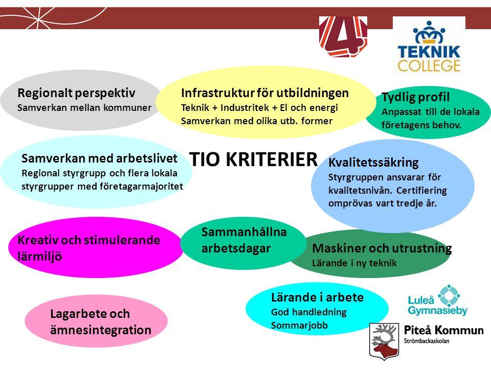 TIO KRITERIER Regionalt perspektiv Infrastruktur för utbildningen