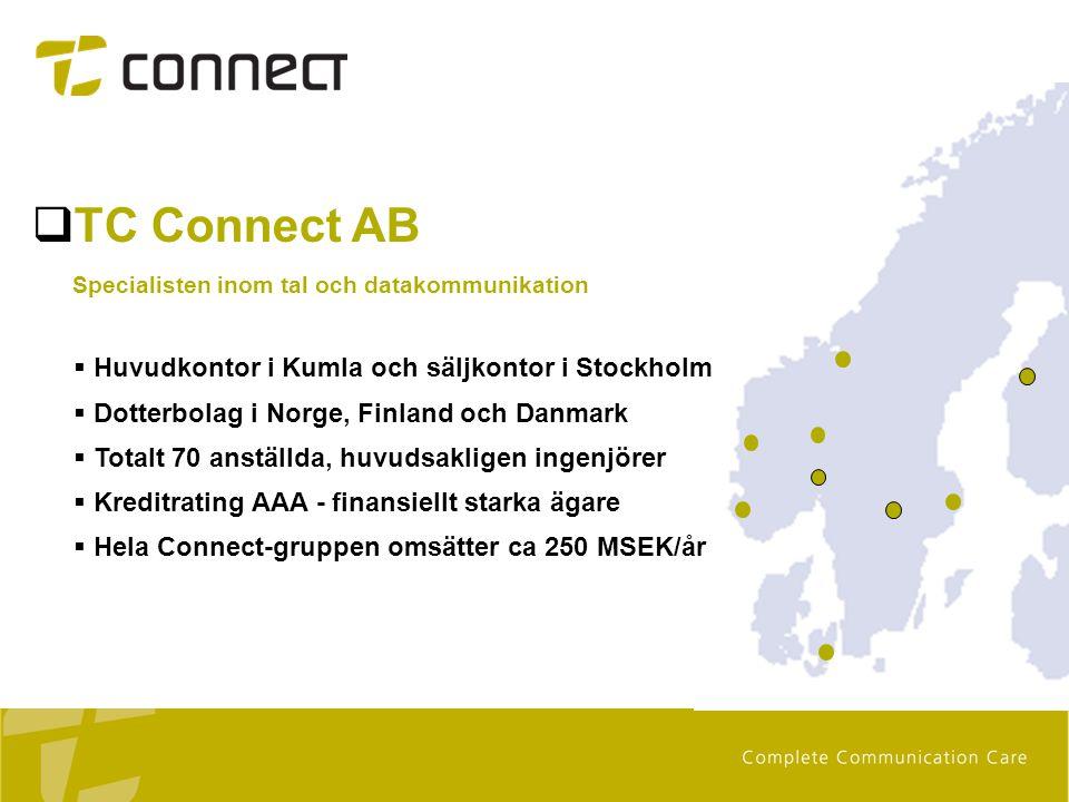 TC Connect AB Huvudkontor i Kumla och säljkontor i Stockholm