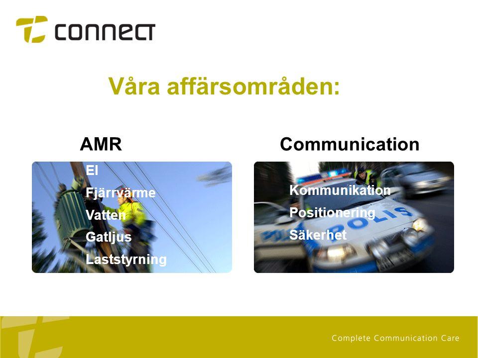 Våra affärsområden: AMR El Fjärrvärme Vatten Gatljus Laststyrning