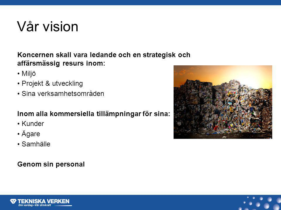 Vår vision Koncernen skall vara ledande och en strategisk och affärsmässig resurs inom: Miljö. Projekt & utveckling.