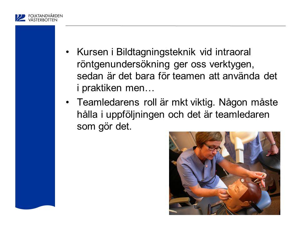 Kursen i Bildtagningsteknik vid intraoral röntgenundersökning ger oss verktygen, sedan är det bara för teamen att använda det i praktiken men…