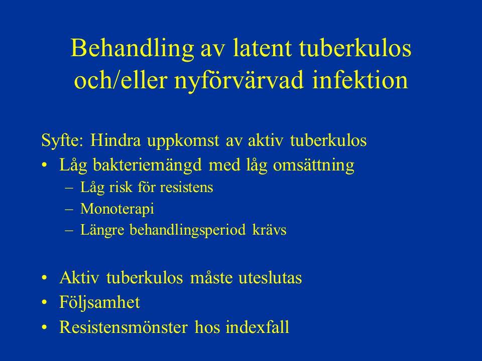 Behandling av latent tuberkulos och/eller nyförvärvad infektion