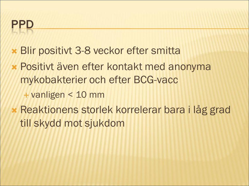 Blir positivt 3-8 veckor efter smitta