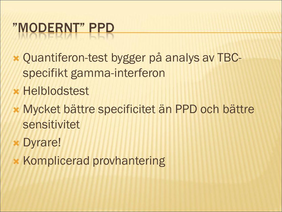Quantiferon-test bygger på analys av TBC- specifikt gamma-interferon