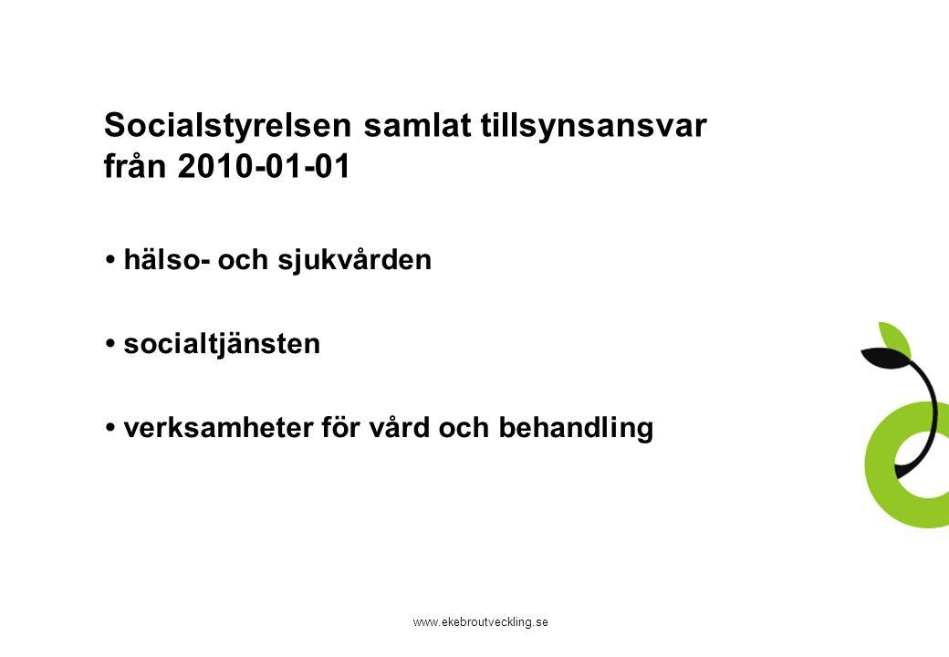 Socialstyrelsen samlat tillsynsansvar från 2010-01-01