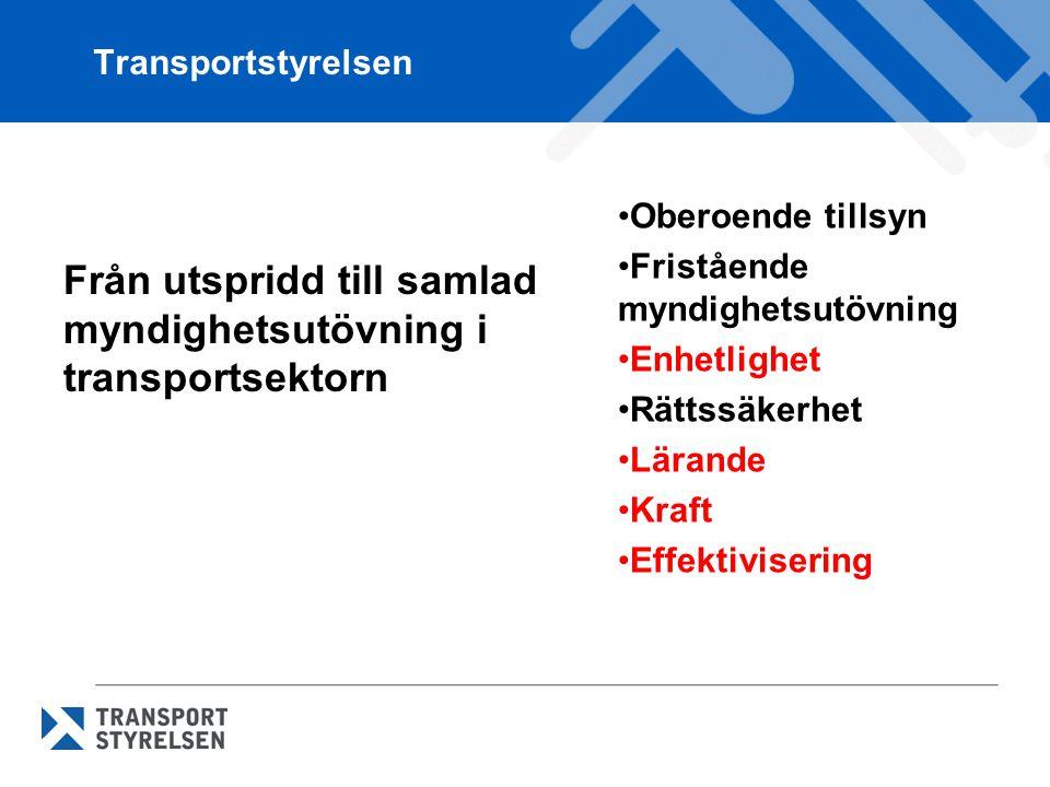 Från utspridd till samlad myndighetsutövning i transportsektorn