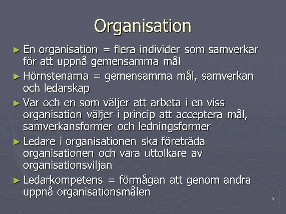 Organisation En organisation = flera individer som samverkar för att uppnå gemensamma mål. Hörnstenarna = gemensamma mål, samverkan och ledarskap.