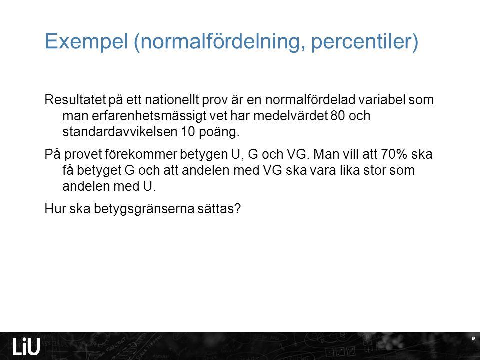 Exempel (normalfördelning, percentiler)
