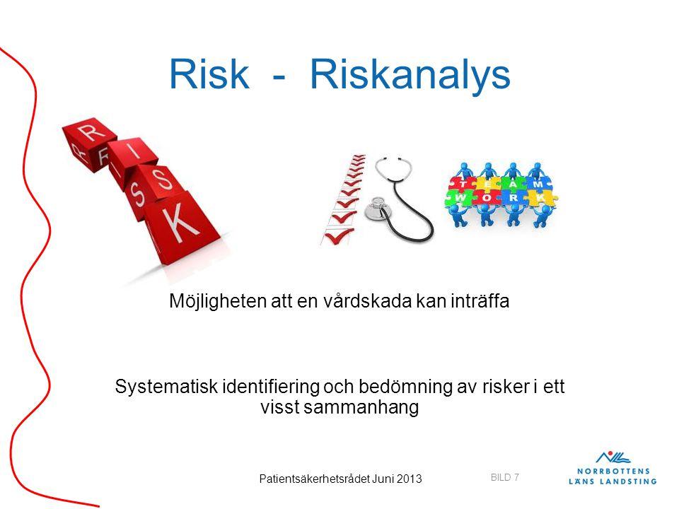 Risk - Riskanalys Möjligheten att en vårdskada kan inträffa